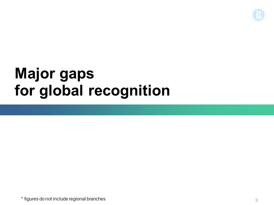 Major gaps for global recognition 3 * figures do not include regional branches