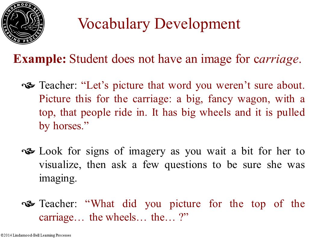 ©2014 Lindamood-Bell Learning Processes Vocabulary Development Example: Student does not have an image for carriage.