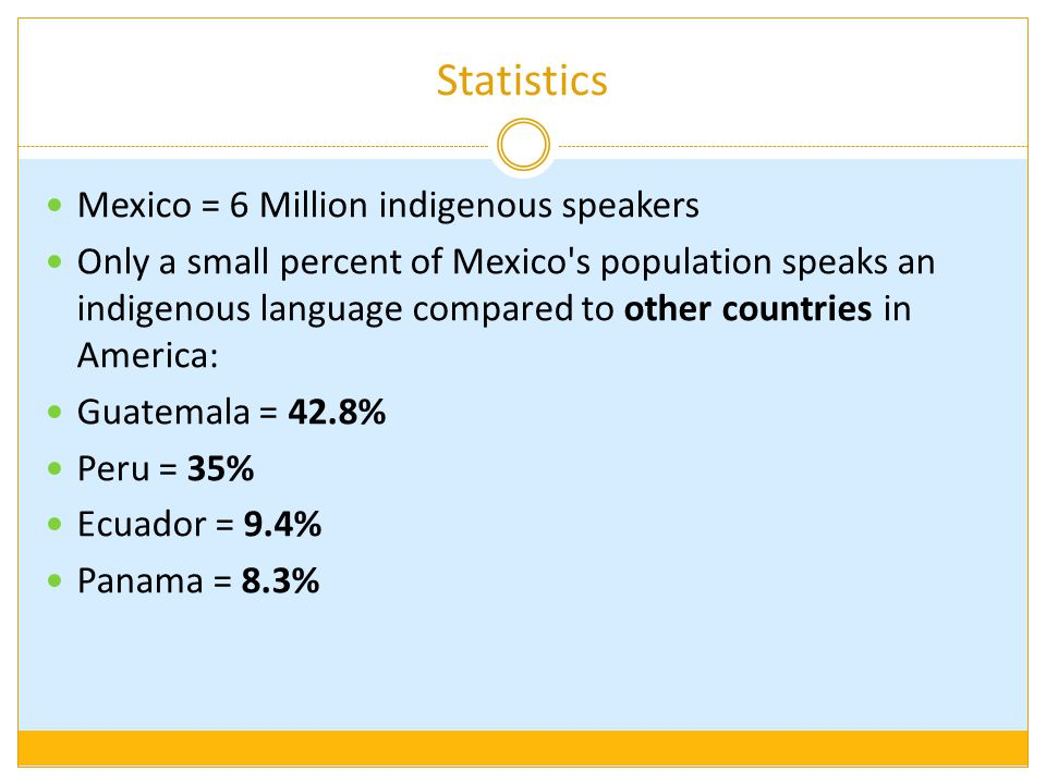 Statistics Mexico = 6 Million indigenous speakers Only a small percent of Mexico s population speaks an indigenous language compared to other countries in America: Guatemala = 42.8% Peru = 35% Ecuador = 9.4% Panama = 8.3%