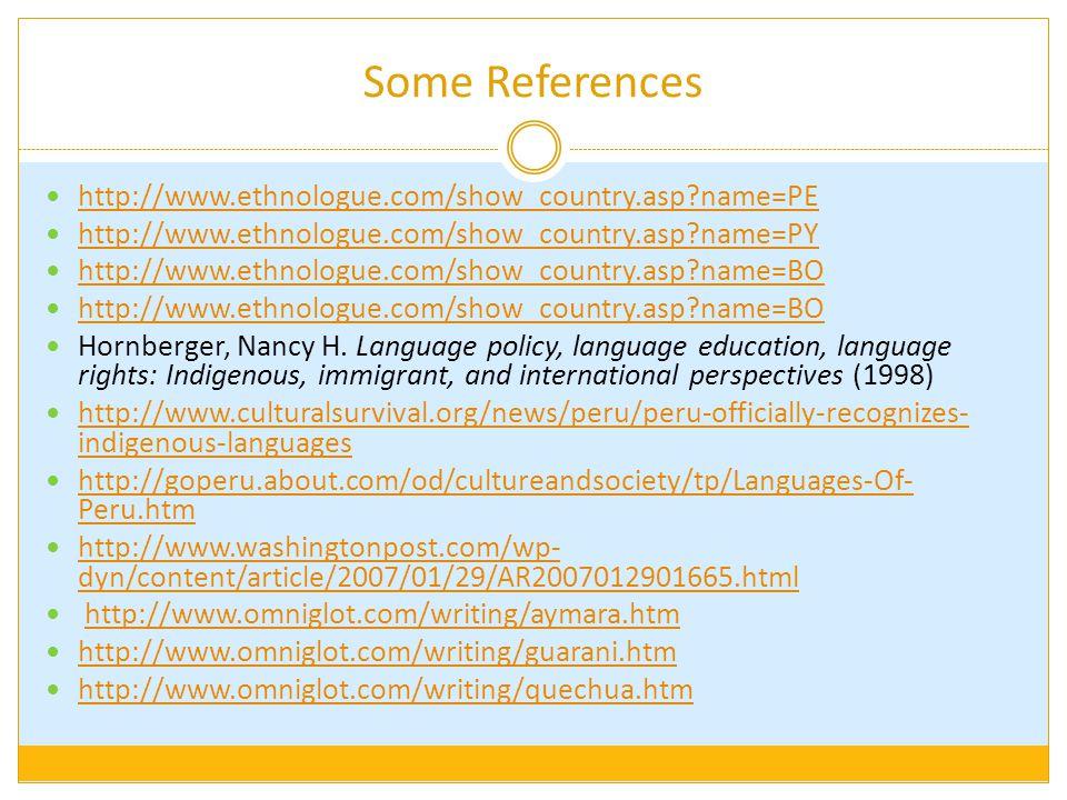 Some References http://www.ethnologue.com/show_country.asp?name=PE http://www.ethnologue.com/show_country.asp?name=PY http://www.ethnologue.com/show_country.asp?name=BO Hornberger, Nancy H.