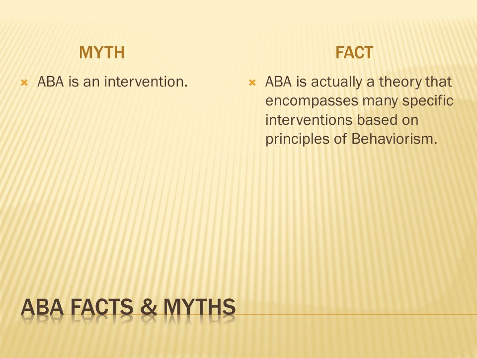 MYTHFACT  ABA is an intervention.  ABA is actually a theory that encompasses many specific interventions based on principles of Behaviorism.