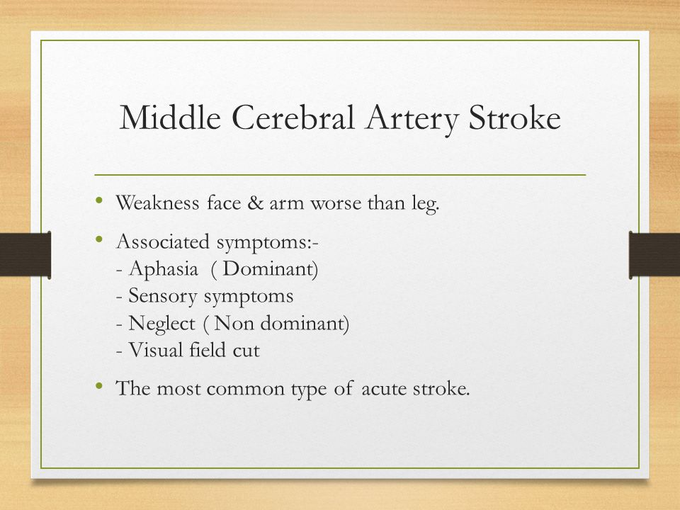 Middle Cerebral Artery Stroke Weakness face & arm worse than leg. Associated symptoms:- - Aphasia ( Dominant) - Sensory symptoms - Neglect ( Non domin