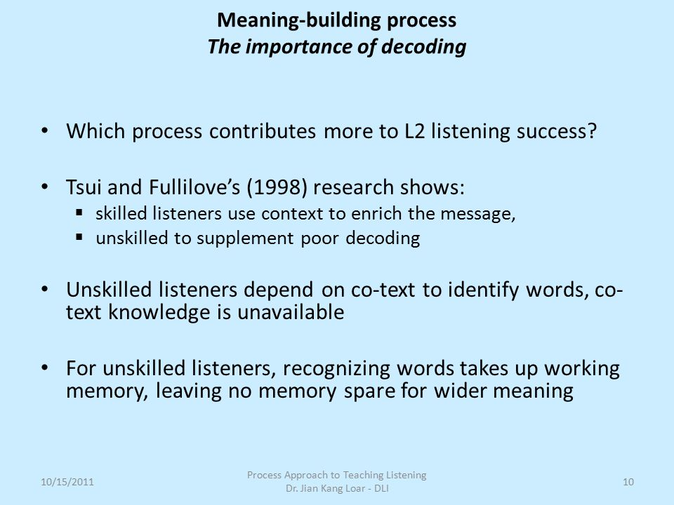 Which process contributes more to L2 listening success? Tsui and Fullilove's (1998) research shows:  skilled listeners use context to enrich the mess