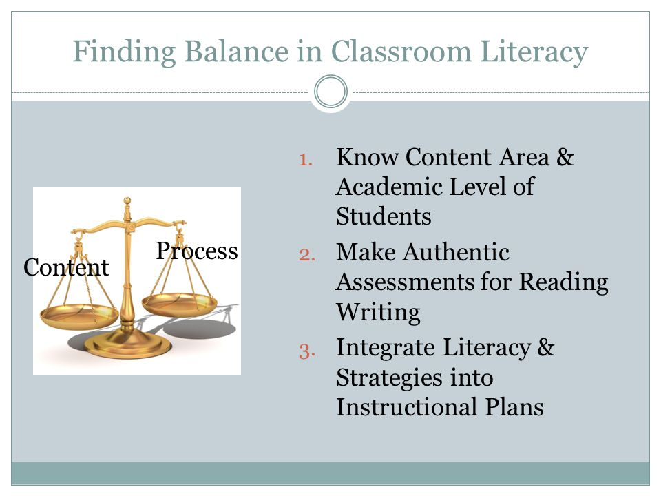 Finding Balance in Classroom Literacy Content Process 1.