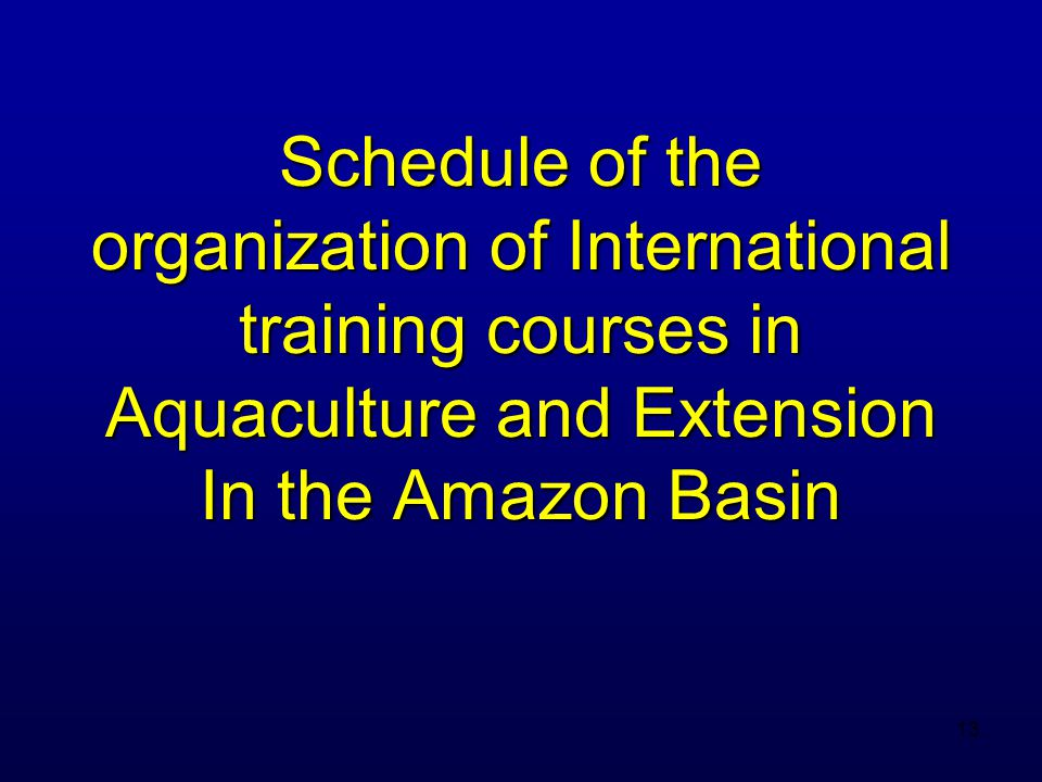 14 Internacional Acuaculture Course for Producers and Extensionists in the Amazon IIAP, Iquitos, Peru Sponsors/organizers: SIUC, CRSP, IIAP, UNAP April 25-30, 2002 19 participants Peru, Ecuador, Brazil, Colombia