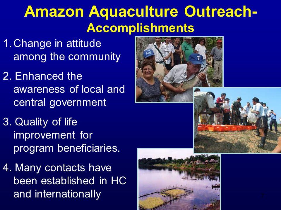 8 Amazon Aquaculture Outreach Success stories 1.Establishment of Aquaculture as a productive alternative in the Peru and Colombia Amazon.