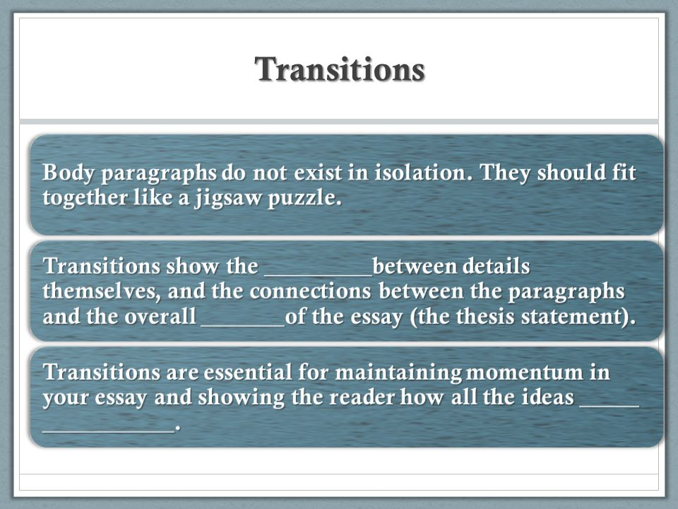 Transitions Body paragraphs do not exist in isolation.