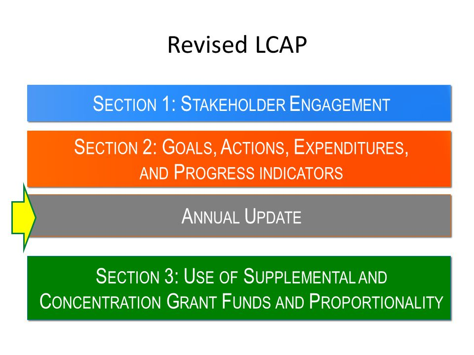 Revised LCAP S ECTION 2: G OALS, A CTIONS, E XPENDITURES, AND P ROGRESS INDICATORS S ECTION 1: S TAKEHOLDER E NGAGEMENT S ECTION 3: U SE OF S UPPLEMEN