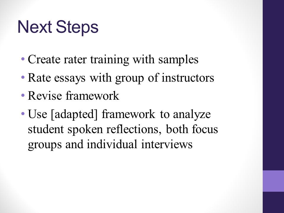 Next Steps Create rater training with samples Rate essays with group of instructors Revise framework Use [adapted] framework to analyze student spoken reflections, both focus groups and individual interviews