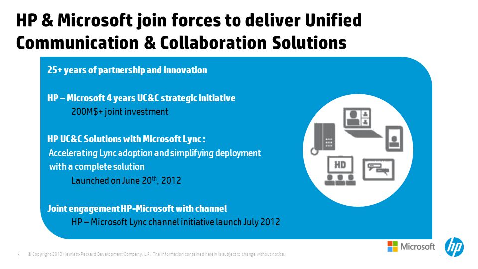 3 HP & Microsoft join forces to deliver Unified Communication & Collaboration Solutions 25+ years of partnership and innovation HP – Microsoft 4 years