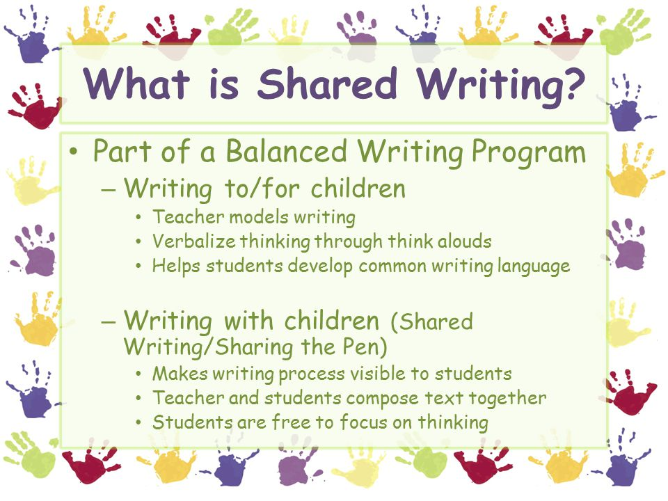 What is Shared Writing.