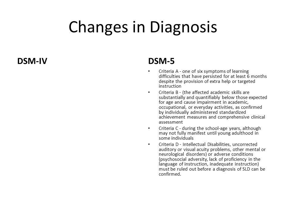 Changes in Diagnosis DSM-IVDSM-5 Criteria A - one of six symptoms of learning difficulties that have persisted for at least 6 months despite the provision of extra help or targeted instruction Criteria B - (the affected academic skills are substantially and quantifiably below those expected for age and cause impairment in academic, occupational, or everyday activities, as confirmed by individually administered standardized achievement measures and comprehensive clinical assessment Criteria C - during the school-­age years, although may not fully manifest until young adulthood in some individuals Criteria D - Intellectual Disabilities, uncorrected auditory or visual acuity problems, other mental or neurological disorders) or adverse conditions (psychosocial adversity, lack of proficiency in the language of instruction, inadequate instruction) must be ruled out before a diagnosis of SLD can be confirmed.