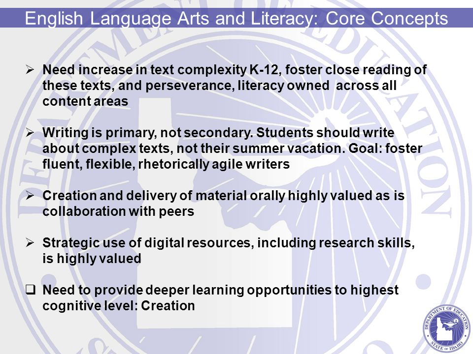 English Language Arts and Literacy: Core Concepts  Need increase in text complexity K-12, foster close reading of these texts, and perseverance, literacy owned across all content areas  Writing is primary, not secondary.