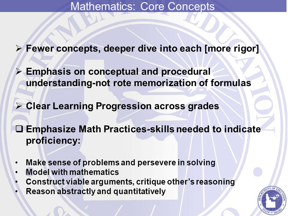 Mathematics: Core Concepts  Fewer concepts, deeper dive into each [more rigor]  Emphasis on conceptual and procedural understanding-not rote memorization of formulas  Clear Learning Progression across grades  Emphasize Math Practices-skills needed to indicate proficiency: Make sense of problems and persevere in solving Model with mathematics Construct viable arguments, critique other's reasoning Reason abstractly and quantitatively