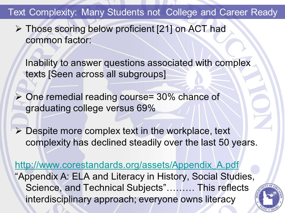 Text Complexity: Many Students not College and Career Ready  Those scoring below proficient [21] on ACT had common factor: Inability to answer questions associated with complex texts [Seen across all subgroups]  One remedial reading course= 30% chance of graduating college versus 69%  Despite more complex text in the workplace, text complexity has declined steadily over the last 50 years.