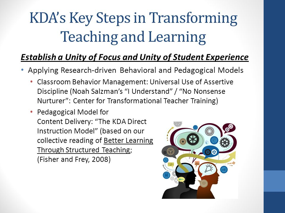 KDA's Key Steps in Transforming Teaching and Learning Establish a Unity of Focus and Unity of Student Experience Applying Research-driven Behavioral and Pedagogical Models Classroom Behavior Management: Universal Use of Assertive Discipline (Noah Salzman's I Understand / No Nonsense Nurturer : Center for Transformational Teacher Training) Pedagogical Model for Content Delivery: The KDA Direct Instruction Model (based on our collective reading of Better Learning Through Structured Teaching; (Fisher and Frey, 2008)