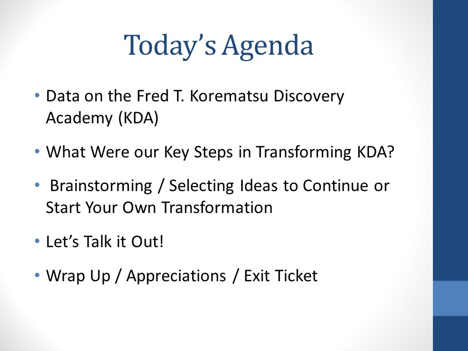 Today's Agenda Data on the Fred T.