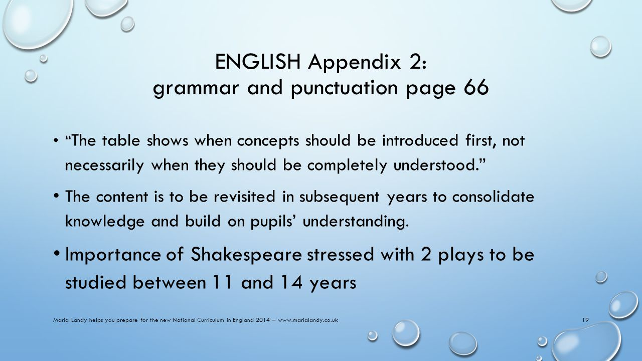 ENGLISH Appendix 2: grammar and punctuation page 66 The table shows when concepts should be introduced first, not necessarily when they should be completely understood. The content is to be revisited in subsequent years to consolidate knowledge and build on pupils' understanding.