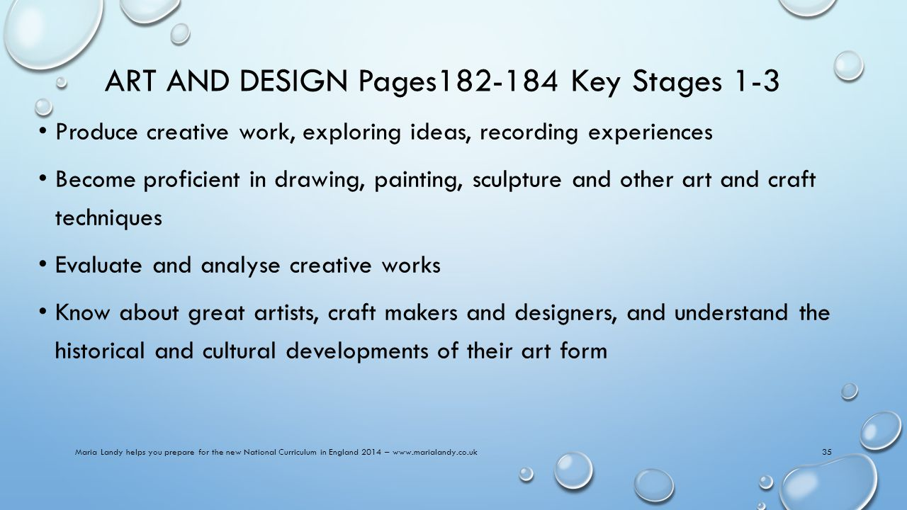 ART AND DESIGN Pages182-184 Key Stages 1-3 Produce creative work, exploring ideas, recording experiences Become proficient in drawing, painting, sculpture and other art and craft techniques Evaluate and analyse creative works Know about great artists, craft makers and designers, and understand the historical and cultural developments of their art form Maria Landy helps you prepare for the new National Curriculum in England 2014 – www.marialandy.co.uk35