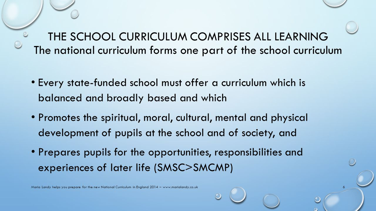 THE SCHOOL CURRICULUM COMPRISES ALL LEARNING The national curriculum forms one part of the school curriculum Every state-funded school must offer a curriculum which is balanced and broadly based and which Promotes the spiritual, moral, cultural, mental and physical development of pupils at the school and of society, and Prepares pupils for the opportunities, responsibilities and experiences of later life (SMSC>SMCMP) Maria Landy helps you prepare for the new National Curriculum in England 2014 – www.marialandy.co.uk6