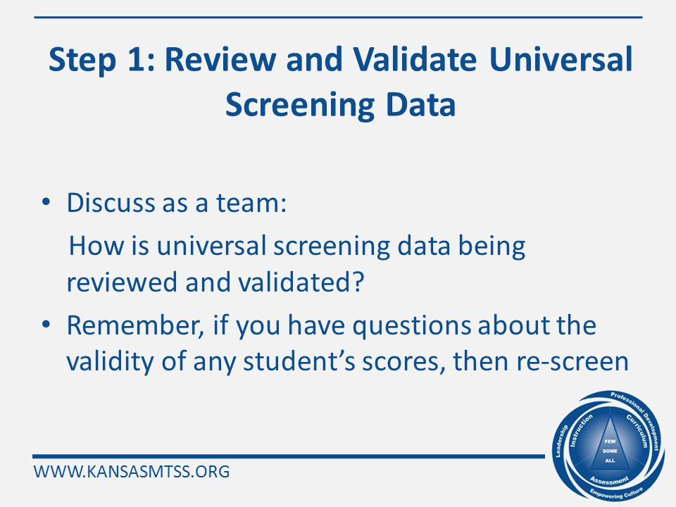WWW.KANSASMTSS.ORG Today's Agenda Review Reading Implementation Steps 1 – 9 using new data from the most recent Universal Screening Building Leadershi