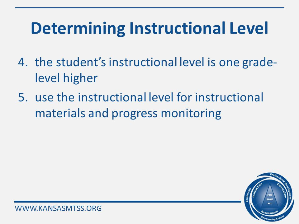 WWW.KANSASMTSS.ORG Determining Instructional Level Use the following steps to determine instructional level of oral reading fluency: 1.test down (usin