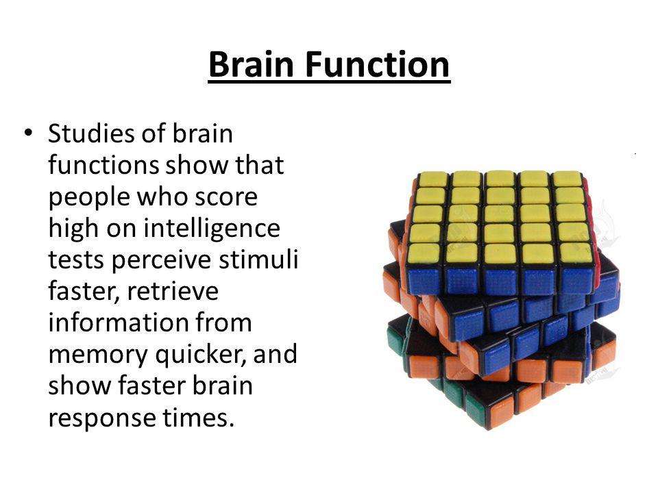 Brain Function Studies of brain functions show that people who score high on intelligence tests perceive stimuli faster, retrieve information from memory quicker, and show faster brain response times.