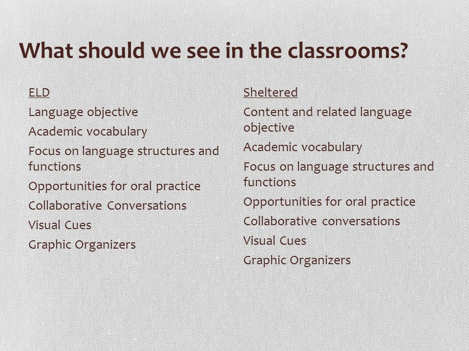 What should we see in the classrooms.