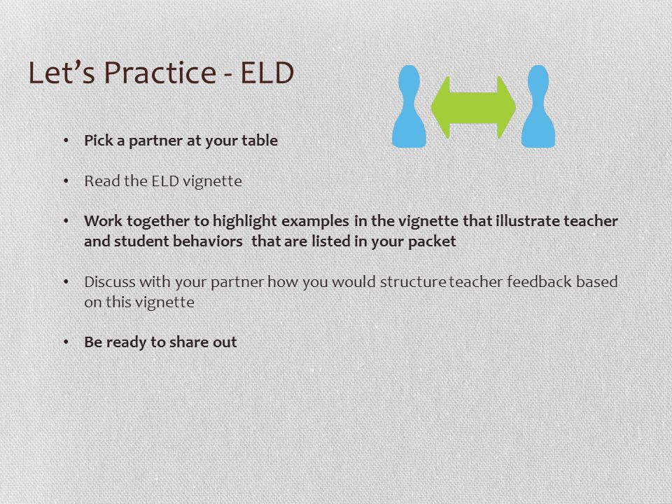 Let's Practice - ELD Pick a partner at your table Read the ELD vignette Work together to highlight examples in the vignette that illustrate teacher and student behaviors that are listed in your packet Discuss with your partner how you would structure teacher feedback based on this vignette Be ready to share out