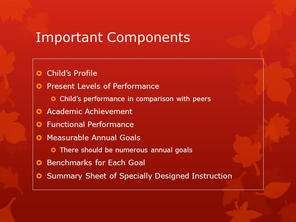 Important Components  Child's Profile  Present Levels of Performance  Child's performance in comparison with peers  Academic Achievement  Functio