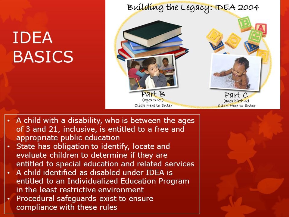 IDEA BASICS A child with a disability, who is between the ages of 3 and 21, inclusive, is entitled to a free and appropriate public education State ha