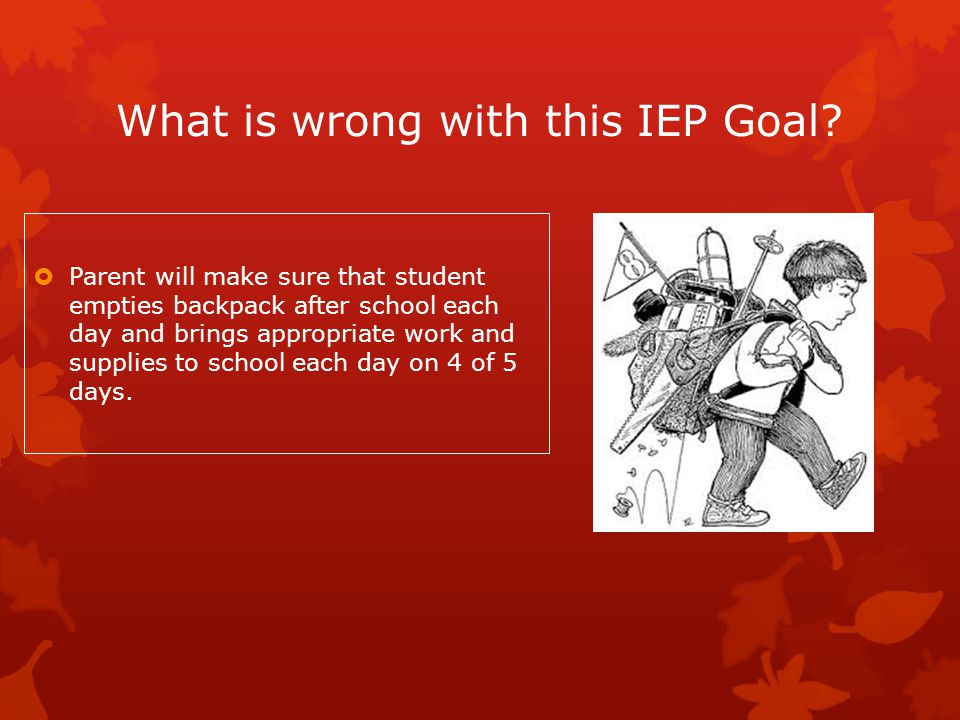 What is wrong with this IEP Goal?  Parent will make sure that student empties backpack after school each day and brings appropriate work and supplies