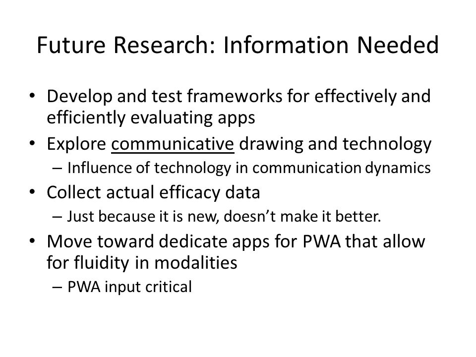 Future Research: Information Needed Develop and test frameworks for effectively and efficiently evaluating apps Explore communicative drawing and tech