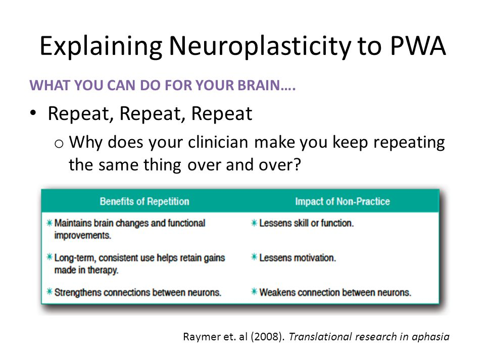 Explaining Neuroplasticity to PWA WHAT YOU CAN DO FOR YOUR BRAIN…. Repeat, Repeat, Repeat o Why does your clinician make you keep repeating the same t