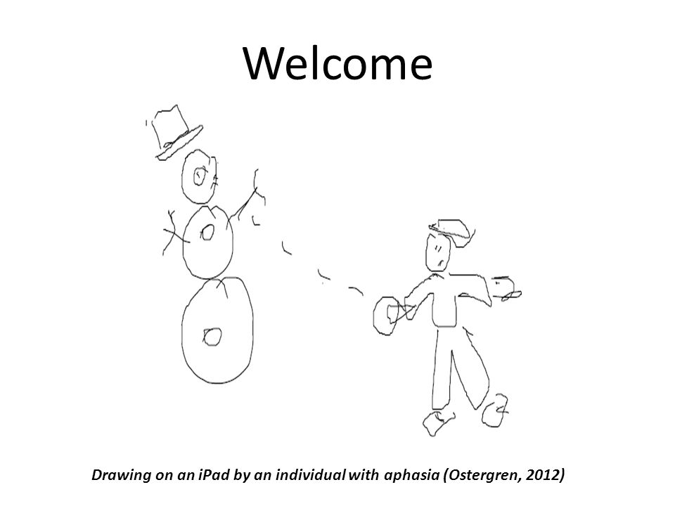 Welcome Drawing on an iPad by an individual with aphasia (Ostergren, 2012)