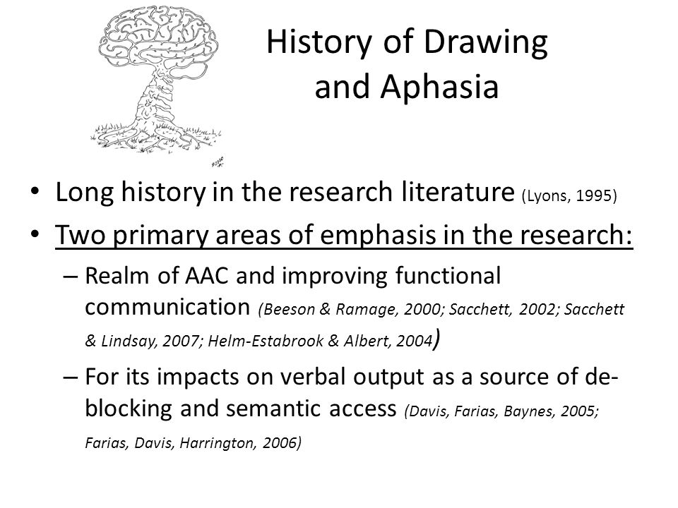 History of Drawing and Aphasia Long history in the research literature (Lyons, 1995) Two primary areas of emphasis in the research: – Realm of AAC and
