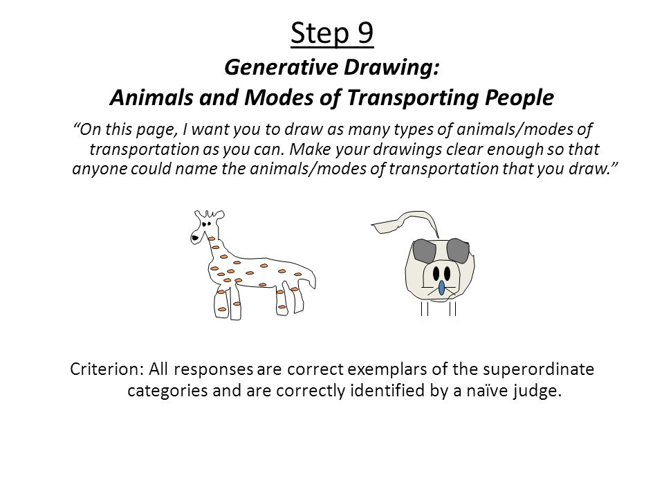 """Step 9 Generative Drawing: Animals and Modes of Transporting People """"On this page, I want you to draw as many types of animals/modes of transportation"""