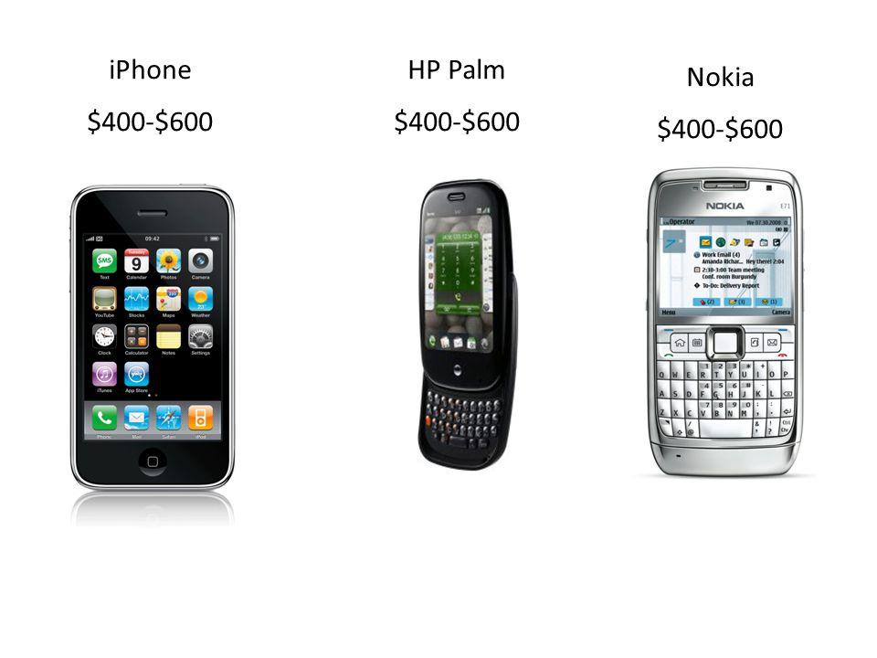 iPhone $400-$600 HP Palm $400-$600 Nokia $400-$600