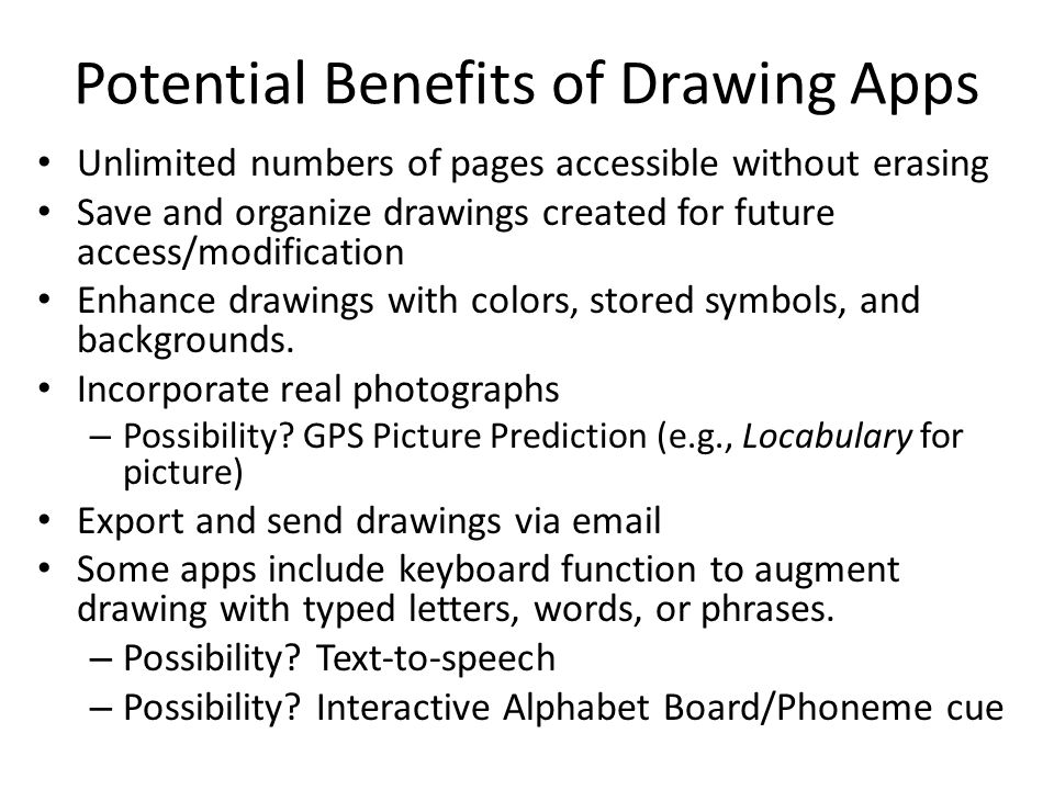 Potential Benefits of Drawing Apps Unlimited numbers of pages accessible without erasing Save and organize drawings created for future access/modifica