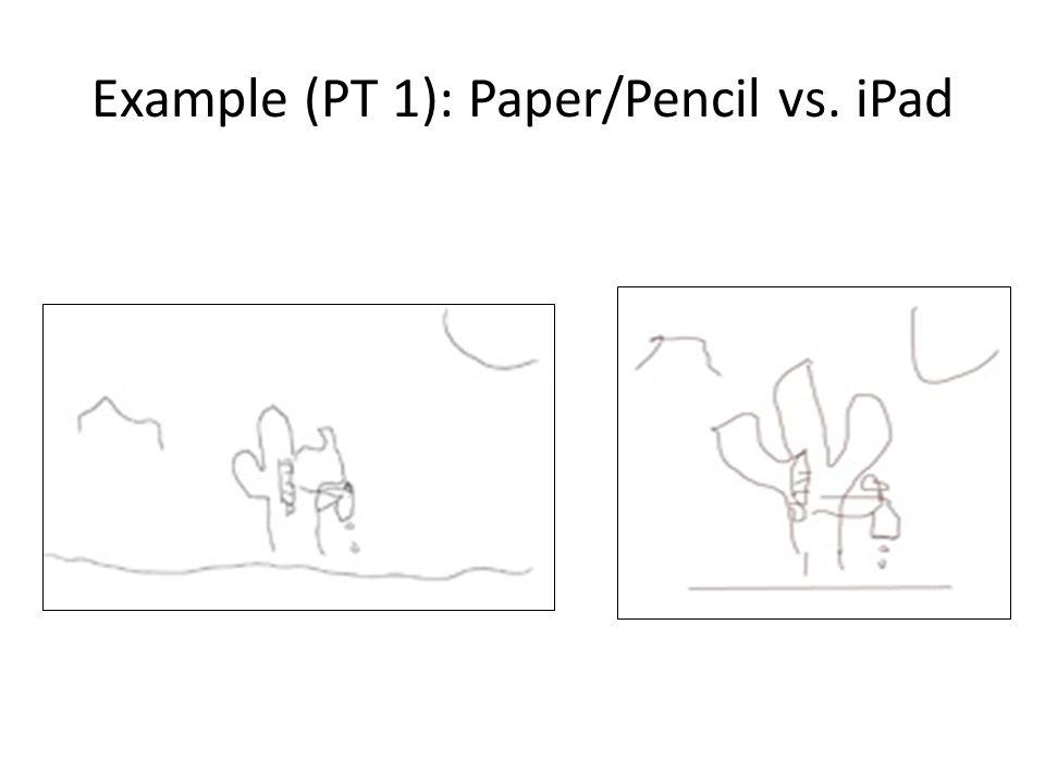 Example (PT 1): Paper/Pencil vs. iPad