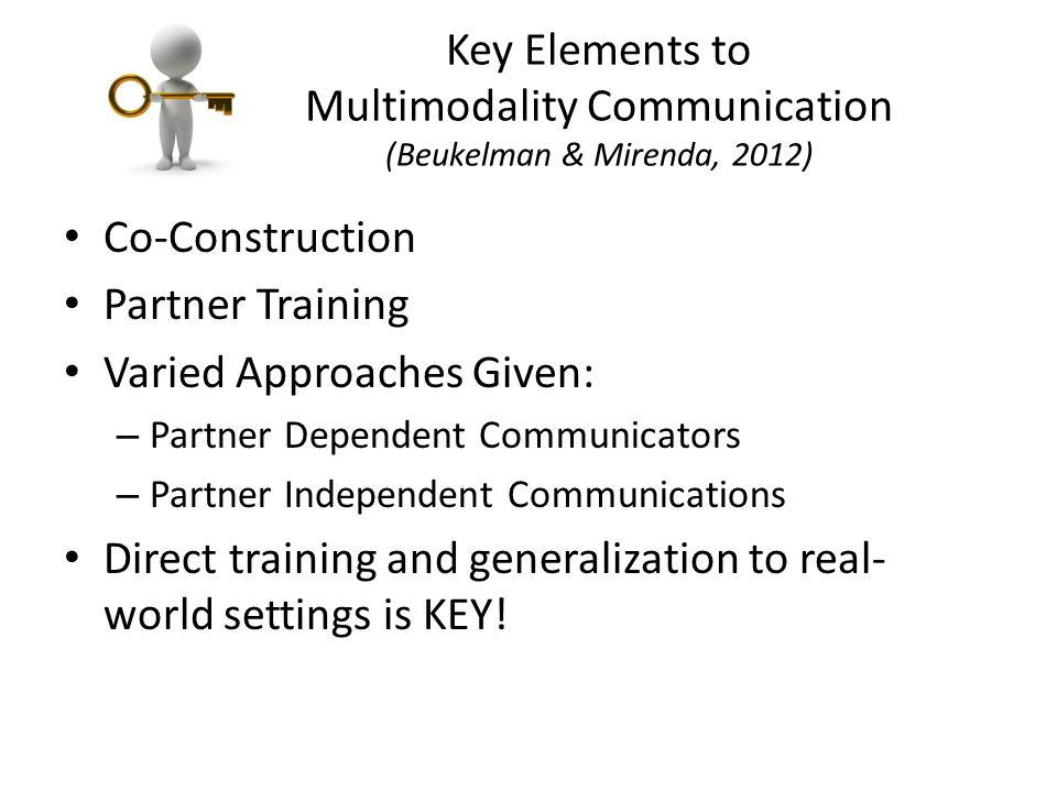 Key Elements to Multimodality Communication (Beukelman & Mirenda, 2012) Co-Construction Partner Training Varied Approaches Given: – Partner Dependent