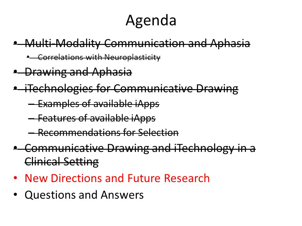 Agenda Multi-Modality Communication and Aphasia Correlations with Neuroplasticity Drawing and Aphasia iTechnologies for Communicative Drawing – Exampl