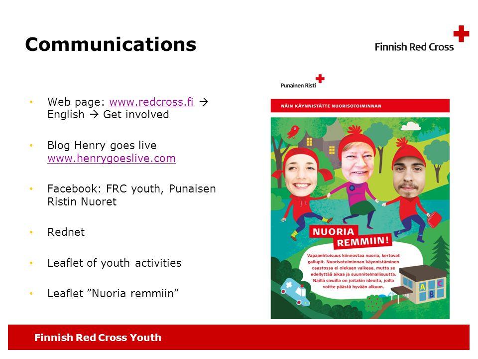 Finnish Red Cross Youth Communications Web page: www.redcross.fi  English  Get involvedwww.redcross.fi Blog Henry goes live www.henrygoeslive.com ww