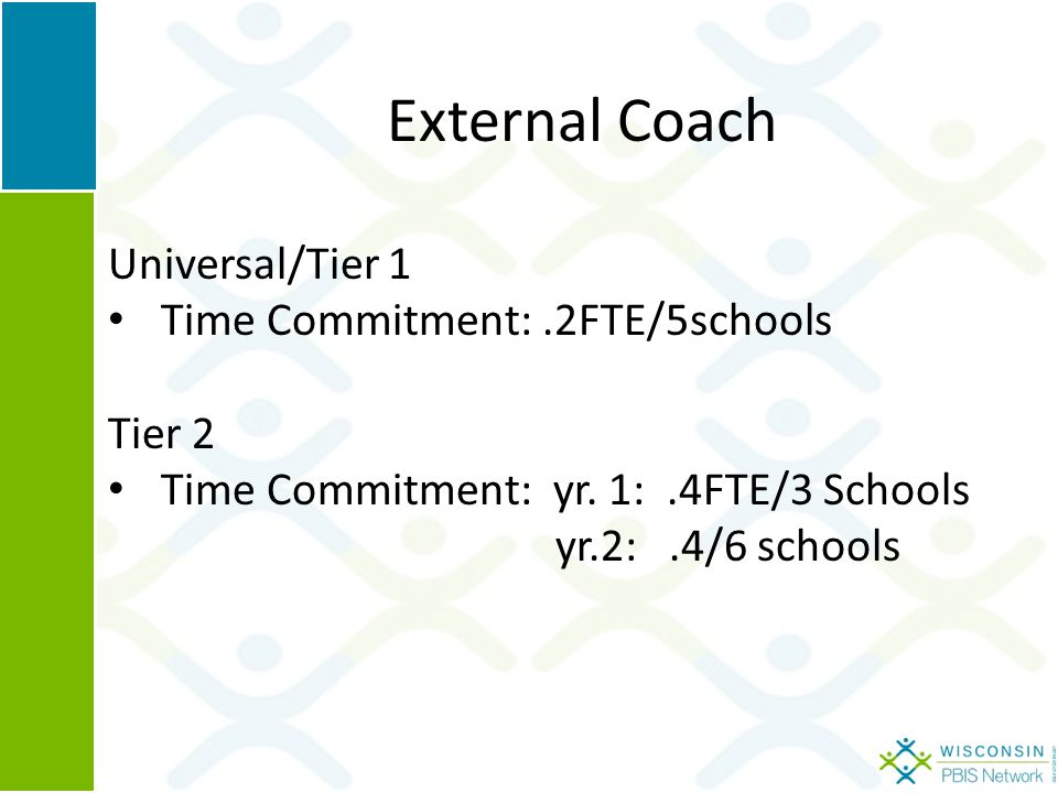 External Coach Universal/Tier 1 Time Commitment:.2FTE/5schools Tier 2 Time Commitment: yr.