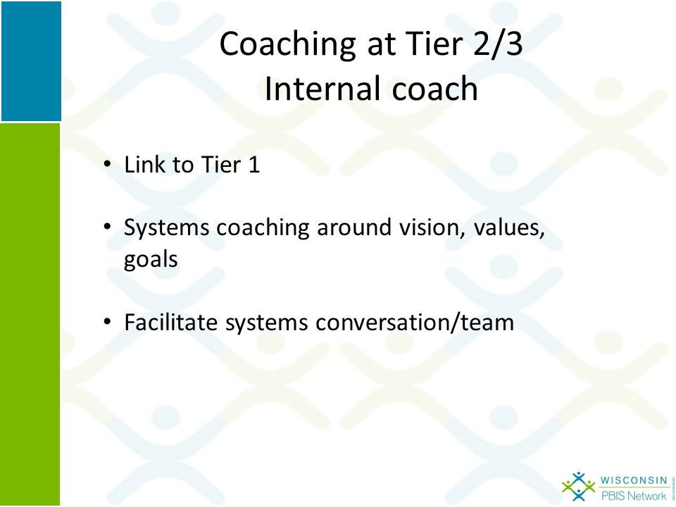 Coaching at Tier 2/3 Internal coach Link to Tier 1 Systems coaching around vision, values, goals Facilitate systems conversation/team