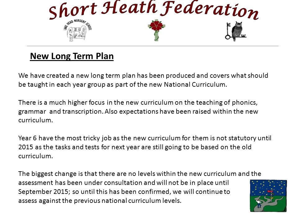 New Long Term Plan We have created a new long term plan has been produced and covers what should be taught in each year group as part of the new National Curriculum.