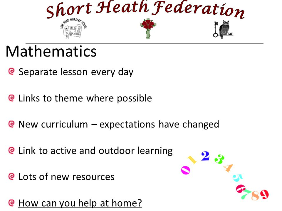 Mathematics Separate lesson every day Links to theme where possible New curriculum – expectations have changed Link to active and outdoor learning Lots of new resources How can you help at home
