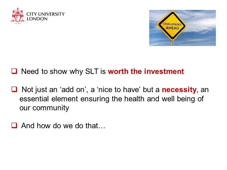  Need to show why SLT is worth the investment  Not just an 'add on', a 'nice to have' but a necessity, an essential element ensuring the health and