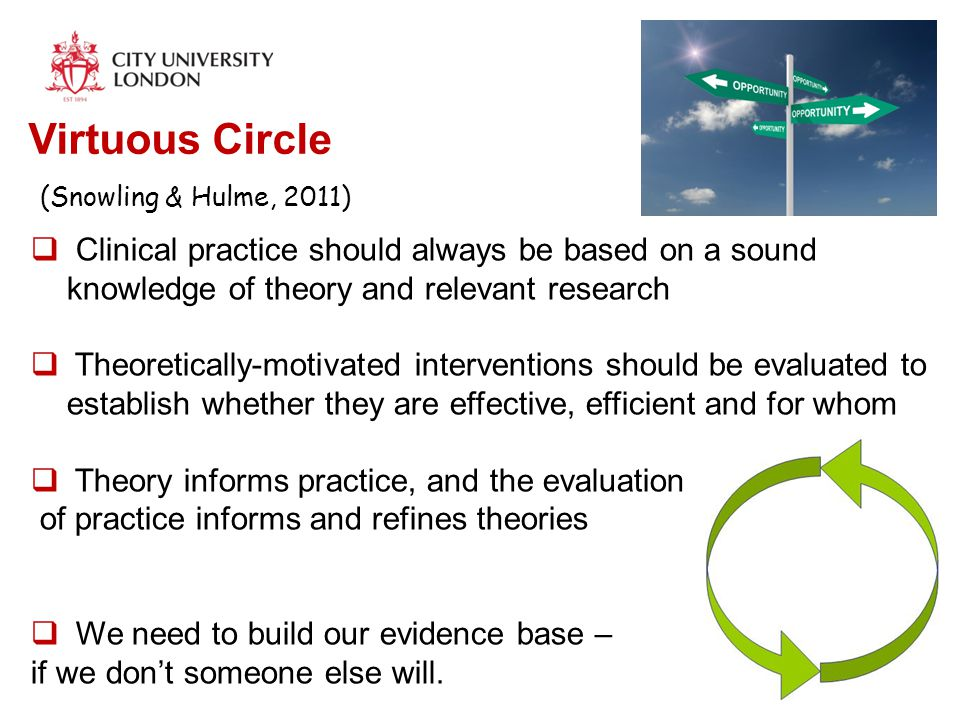 Virtuous Circle (Snowling & Hulme, 2011)  Clinical practice should always be based on a sound knowledge of theory and relevant research  Theoretical