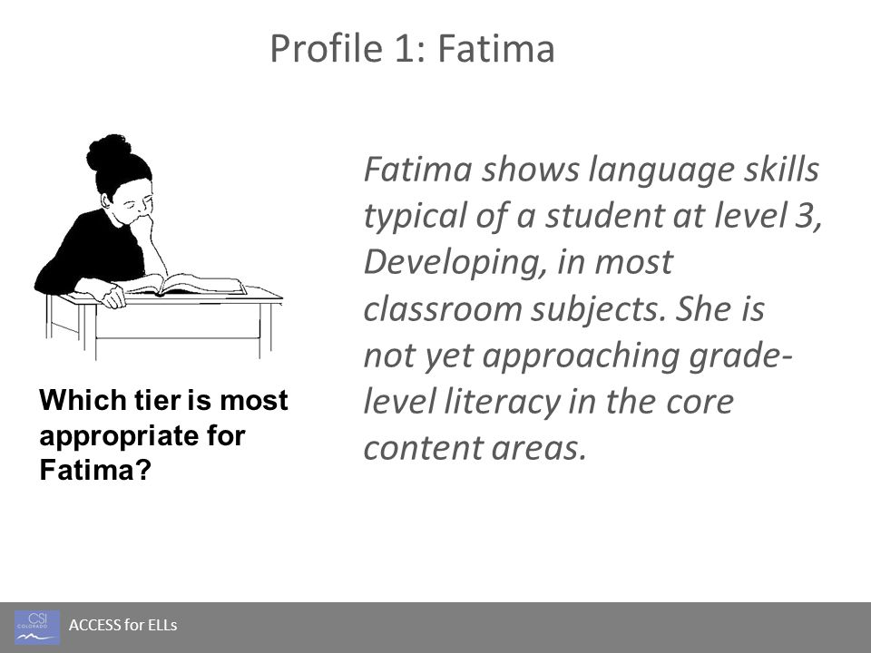 ACCESS for ELLs Profile 1: Fatima Fatima shows language skills typical of a student at level 3, Developing, in most classroom subjects. She is not yet